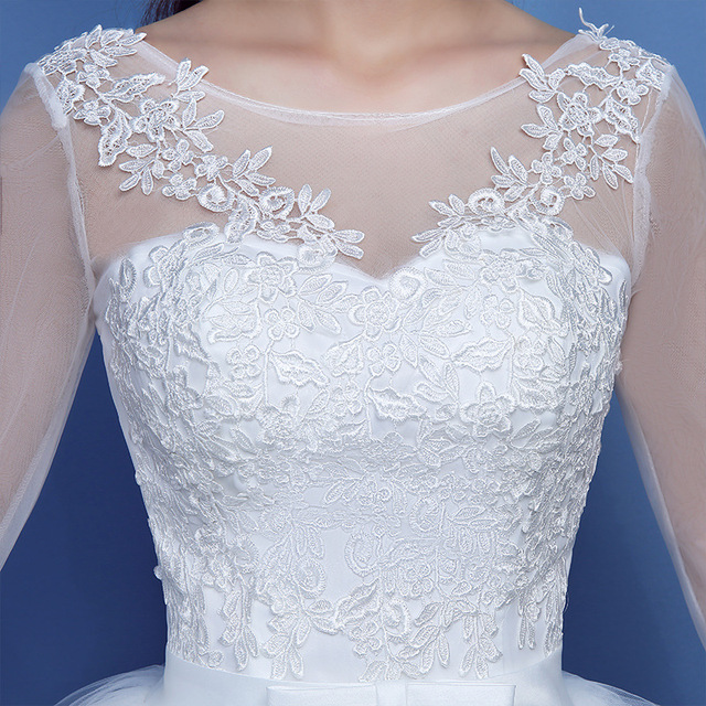 Fashion Lace Up Wedding Dress Bride Ball Gowns Wedding Dresses Half Sleeve Plus Size Princess Dresses Vestidos De Novia 5