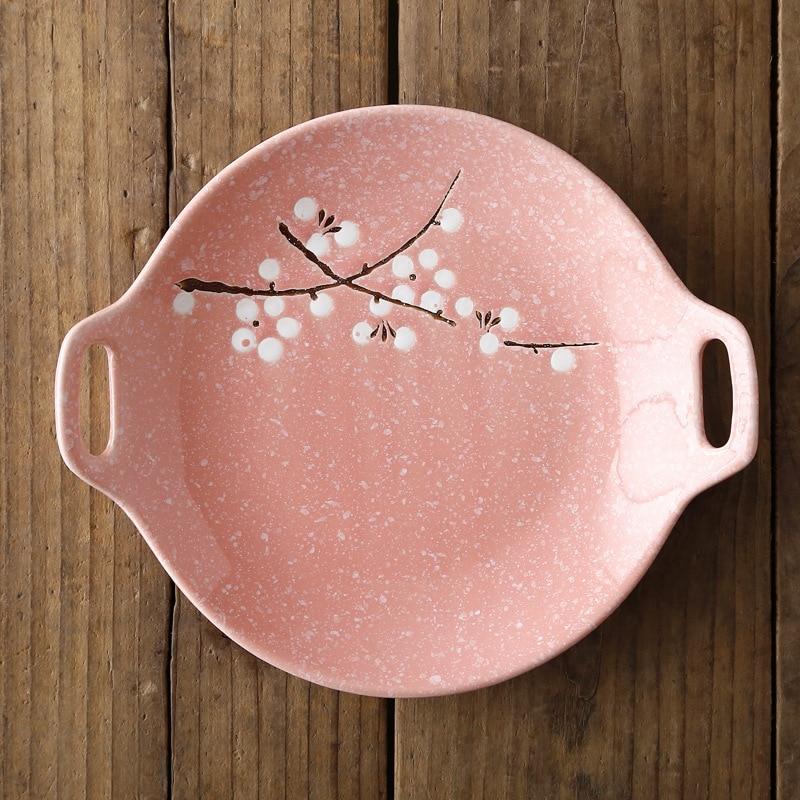 Посуда в японском стиле, керамический набор, домашняя тарелка с двойной ручкой, керамическое блюдце, креативное блюдо для закусок, салат, Обеденный Поднос - Цвет: Розовый