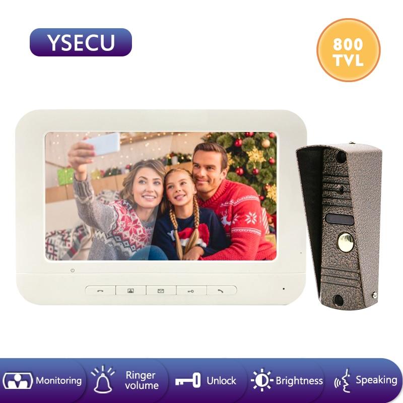YSECU 7 Inch 800TVL LCD Wired Video Door Phone Visual Video Intercom Speakerphone Intercom System With Lock(not Included) IP65