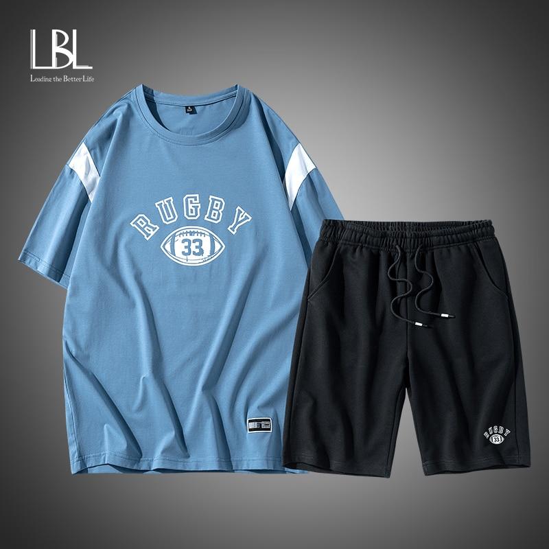 LBL Shorts + T-shirt Sets Men's Summer New Fashion Casual Sports Suit Men's Round Neck T-shirt Cotton Loose Hip-hop Style Suit