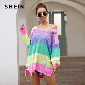 Image 3 - SHEIN çizgili bırak omuz uzun kazak kadın üstleri 2019 sonbahar Streetwear uzun kollu V boyun büyük boy bölünmüş kazak