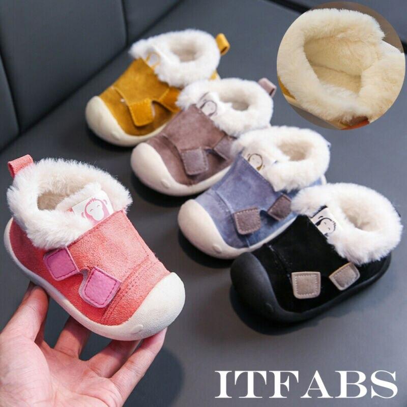 Snow Cotton Shoes Autumn Winter Crib Shoes Warm Fleece Fleece Crib Shoes Fashion First Walkers Casual Snow Boot Anti Slip
