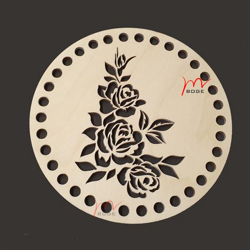 20 Pieces Rose Round Wooden Shape With Holes Wood Base Homemade Crochet Basket Wooden Bottom For Knitting