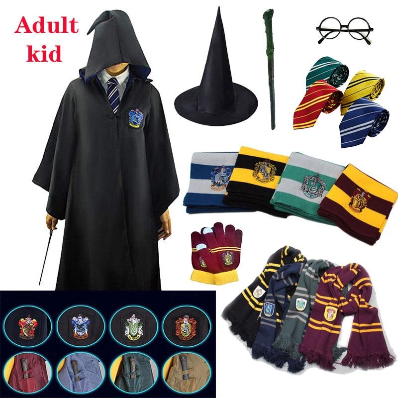 Robe Gryffindor Slytherin Ravenclaw Hufflepuff Cosplay Costume Children Adult Robe Cloak 4 Halloween Gifts Harris Clothing