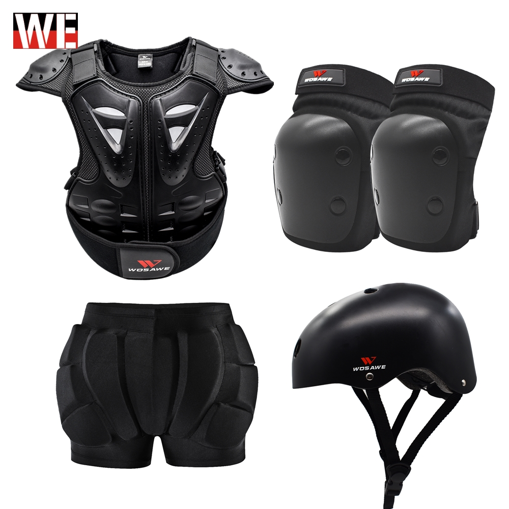 WOSAWE Child Motorcycle Jacket Hip Pad Shorts Body Armor Set Kids Motocross Scooter Mtb Bicycle Safety Protection Gear Anti-drop