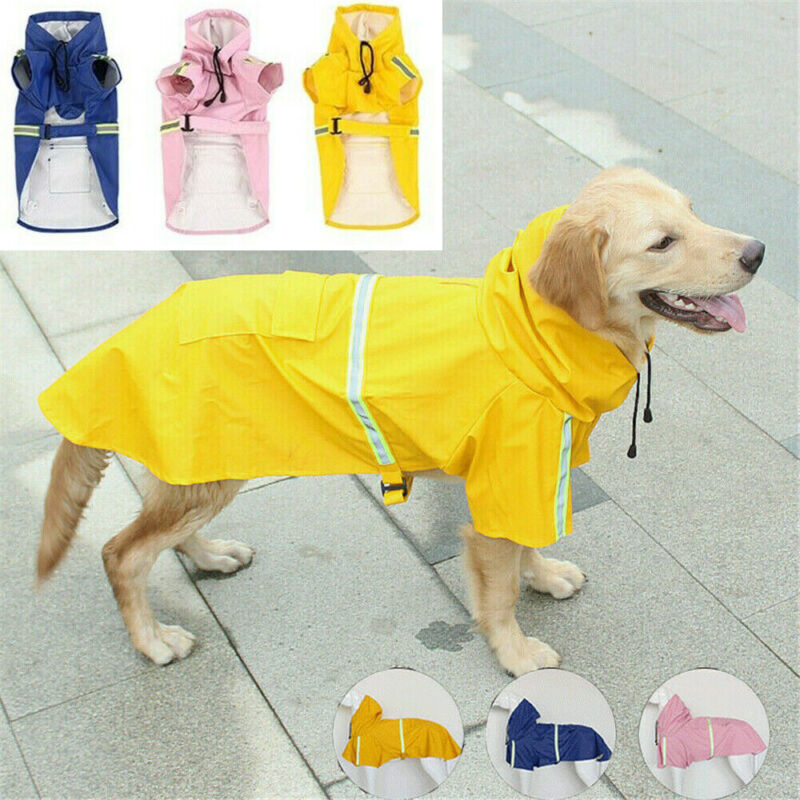 Pet Dog Raincoat Waterproof Hooded Jacket Fashion Big Dog Raincoat Reflective Strip Raincoat For Dogs Waterproof Pet Clothes