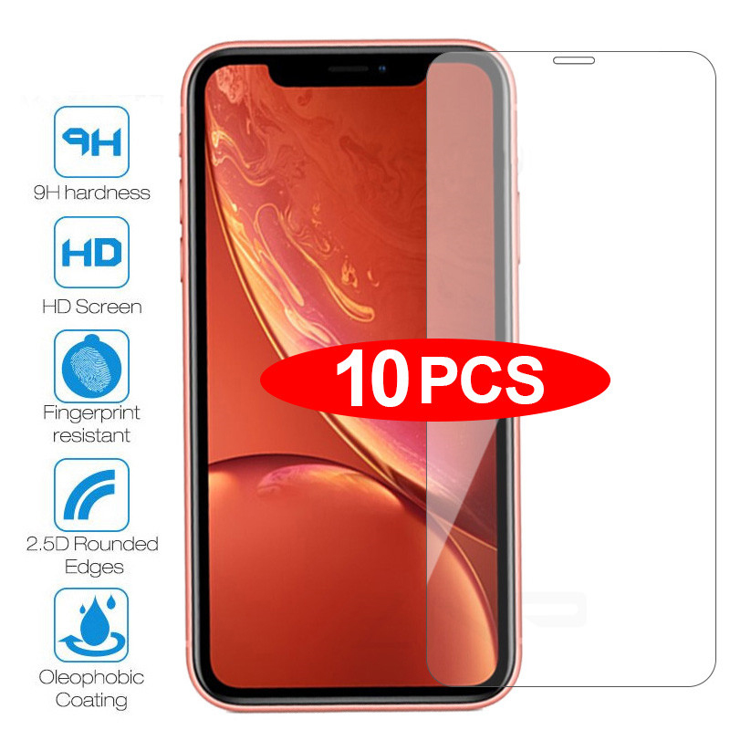10Pcs Tempered Glass For IPhone 6 6s 7 8 Plus 5 5s 5c SE Screen Protective Film For IPhone X XS Max XR 11Pro Max Glass Protector