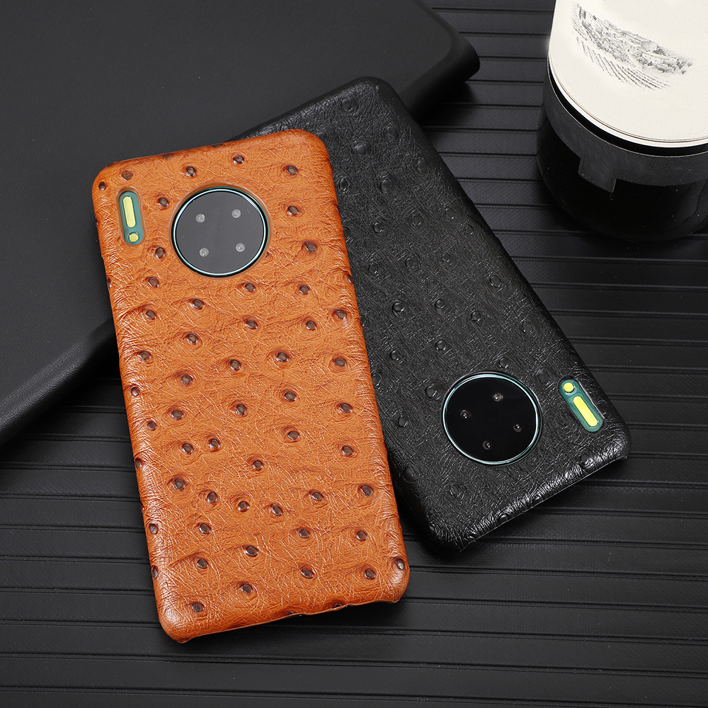 Luxury Ostrich Texture Genuine Leather Fundas For Huawei P30 Pro P30pro Mate30 Mate 20 30 Pro 30Pro 5G Case Cover Shell Coque