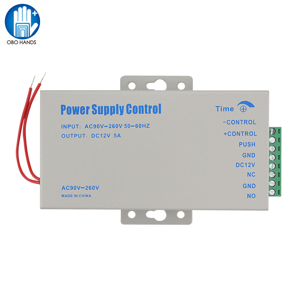 Metal 12VDC/5A Access Control Power Supply Swtich 110-260VAC Input With Time Delay For Electronic Locks Video Intercom System