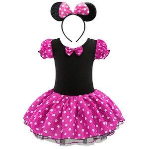 Платье принцессы с Микки и Минни Маус для девочек; Детские вечерние костюмы на день рождения; Милый забавный костюм; Одежда для детей 1 От 2 до...