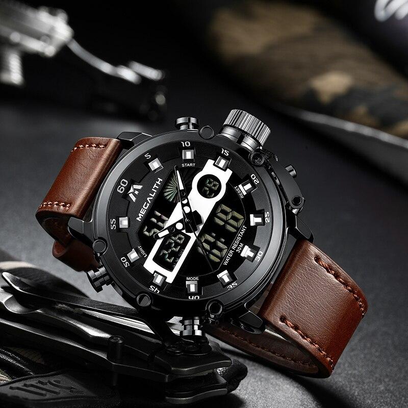 MEGALITH moda męska Sport zegarek kwarcowy mężczyźni wielofunkcyjny wodoodporny zegarek luminescencyjny mężczyźni podwójny Dispay zegar Horloges Mannen 2