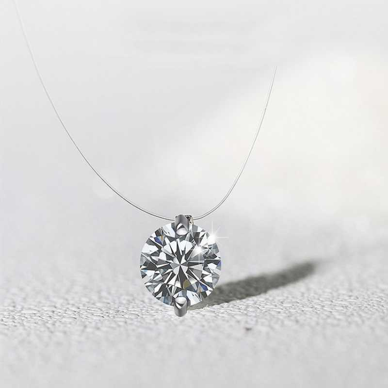 Women Transparent Fishing Line Necklace Clear Zircon Pendant Necklace Decorative Crystal Rhinestone Necklace