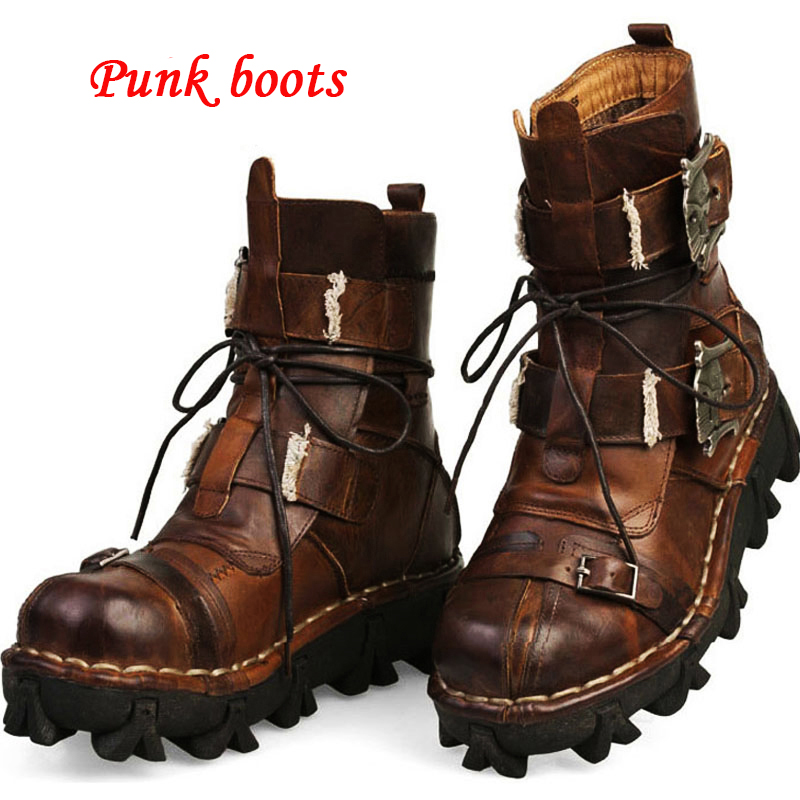 Men's Cowhide Genuine Leather Leather Boots Men Shoes Motorcycle Boots Military Combat Boots Gothic Skull Steam Punk Boots