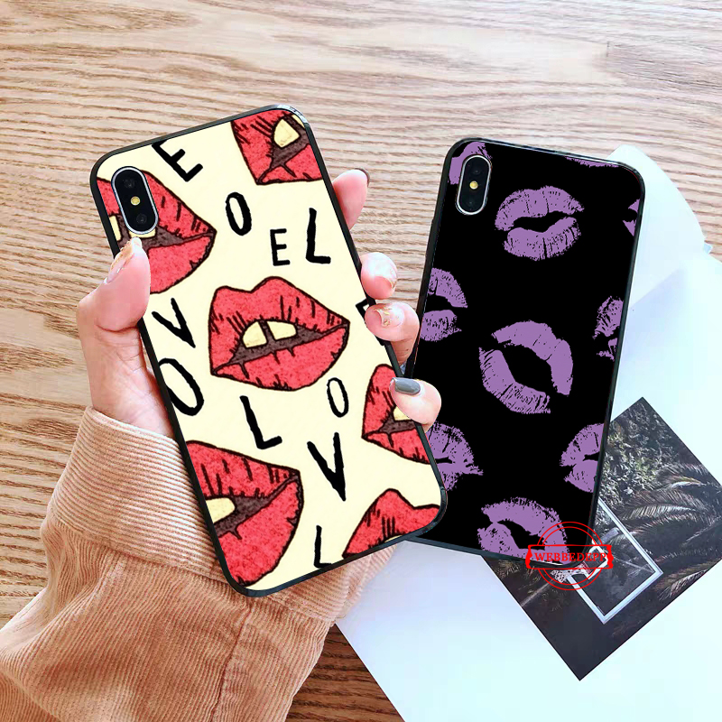 WEBBEDEPP Kiss With Lips Remarkable Silicone soft Case for iPhone 5 SE 5S 6 6S Plus 7 8 X XS Max XR in Fitted Cases from Cellphones Telecommunications