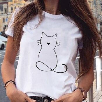 Women's Cotton T-Shirt With Kitten Print   1