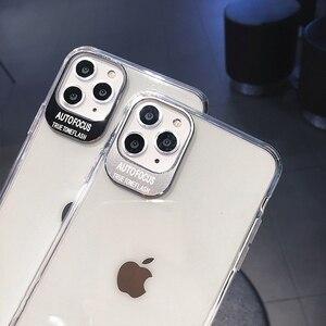 Image 5 - מתכת עדשת אותיות מקרי מגן לאייפון 11 2019 XS Max XR XS 6 6S 7 8 בתוספת מלא גוף רך TPU שקוף טלפון חזרה כיסוי