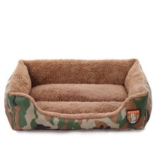 Trendy Soft Warm Pet Nest Cats Bed Jungle Camouflage Sofa Dog House Cheap Cozy Rectangle Puppy Teddy Square