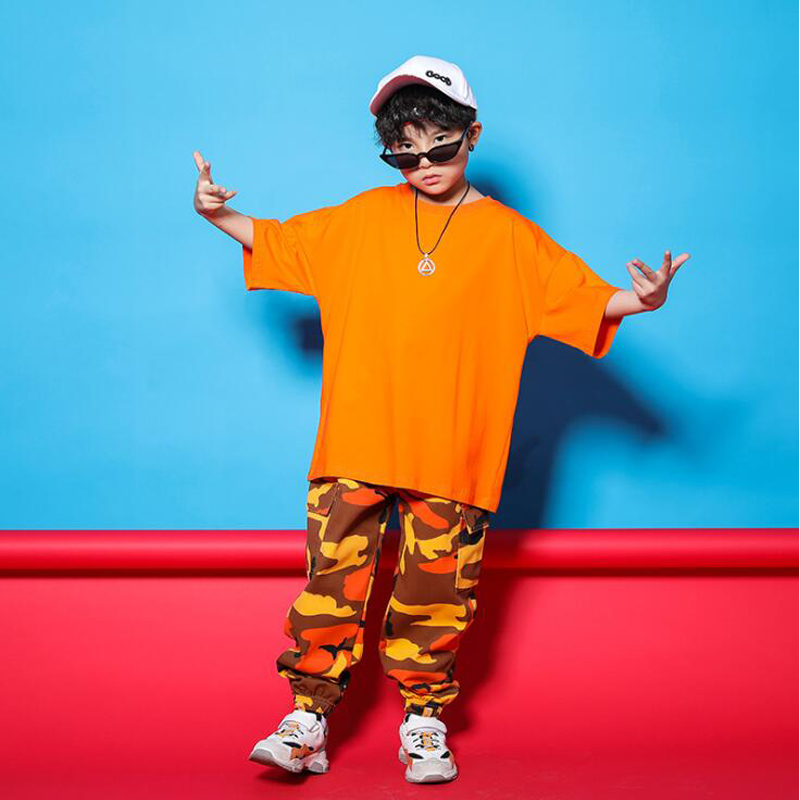 Boys Ballroom Cool Hip Hop Clothing Outfits Tops Sweatshirt Camouflage Pants For Girls Kids Jazz Dance Costume Clothes Wear