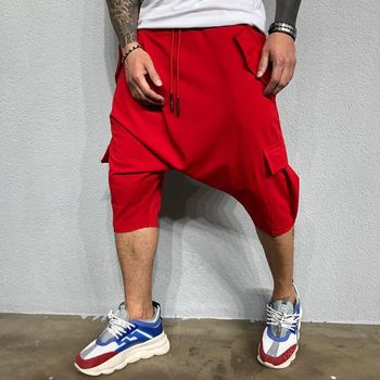 2019 Men's New Hip Hop Trend Pants Loose Solid Color Street Men's Sports and Leisure Harlan Solid Color Trousers 5 Colors