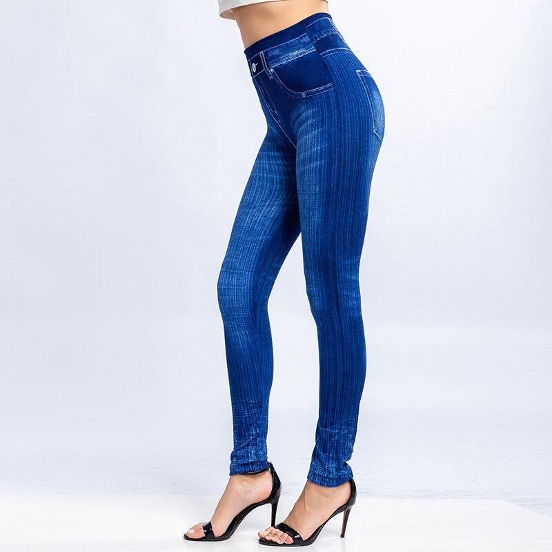 Women Jean Leggings Slim Fitness Skinny Leggings Lady Casual High Elastic Waist Running Sports Push Up Legging Pants 3XL