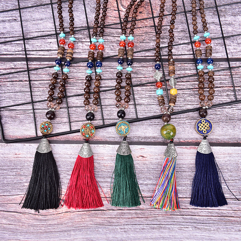 Nuevo Boho Vintage borla collar mujer largo cuenta antigua tibetana plata Color colgantes collar joyería