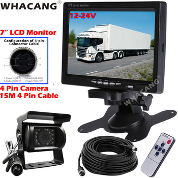 "12V-24V 4Pin IR Backup Reversing Camera with 7"" TFT LCD HD Color Monitor for Commercial Vehicle Horse Boxes Pickup Truck Caravan"