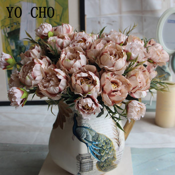 5 Heads Silk Peonies Artificial Flowers Bouquet DIY Silk Fake Flowers For Wedding Party Home Table Garden Decor Small Bouquet
