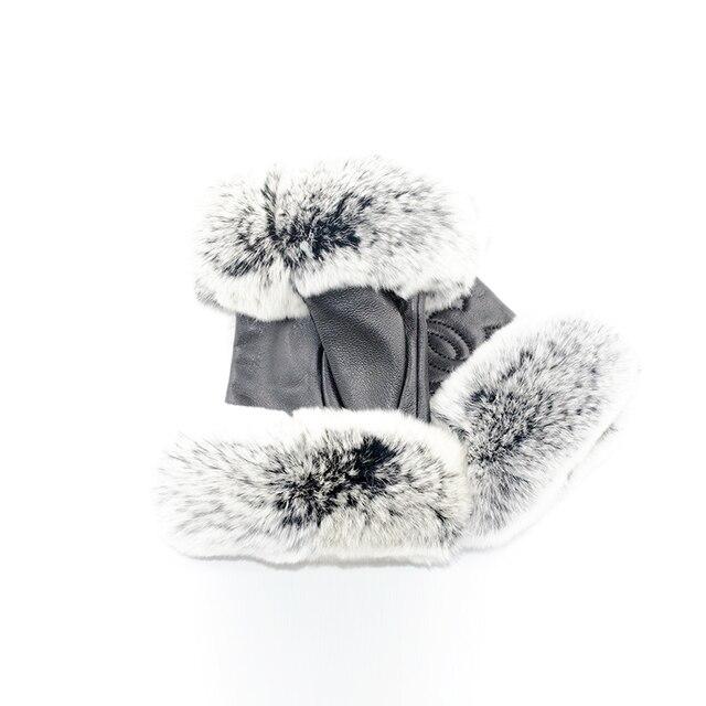 Winter Fashion Brand Famous Celebrities Women Genuine Leather Gloves Real sheepskin Rabbit Fur Fingerless Gloves Female 4
