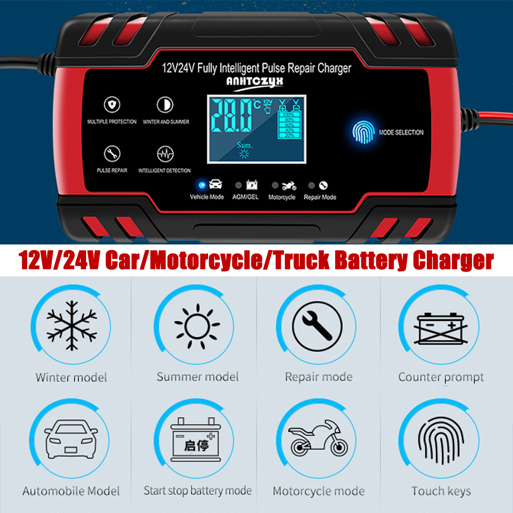 12V 8Amp/24V 4Amp Automotive Smart <font><b>Battery</b></font> <font><b>Charger</b></font>/<font><b>Maintainer</b></font> ,with LCD Display for <font><b>Car</b></font>, Truck, Motorcycle pulse repair <font><b>charger</b></font> image