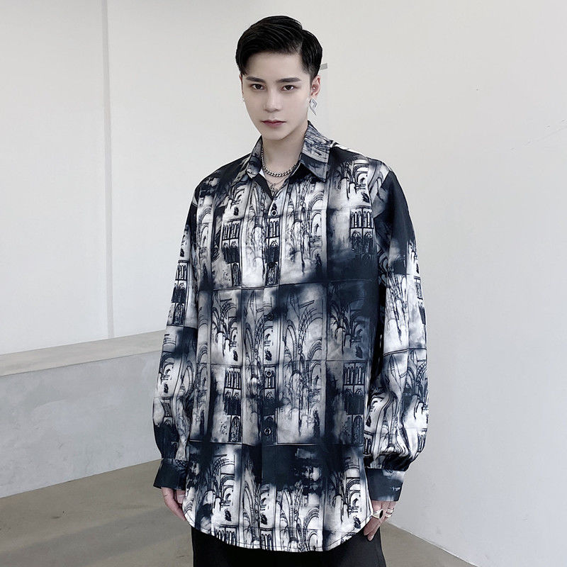 ÐBest DealMen's long-sleeved shirts 2020 autumn and winter new ink graffiti printed shirts young people fashion trend men's clothing
