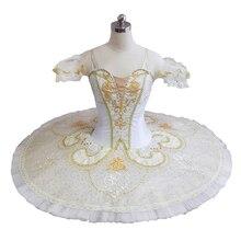 بدلة راقصة باليه توتو للسيدات ذات أداء منافس للبالغين لون ذهبي أبيض من Roymanda Paquita