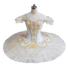 Adult Performance Tutu Women White Gold Roymanda Platter Professional tutu Ballerina Stage Pancake Tutus Competiton Paquita 9097