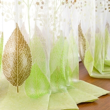 Tulle Curtains Voile Window-Panel Sheer Bedroom Living-Room Kitchen Green Pastoral Europe