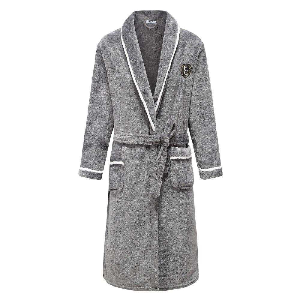 Flannel Men Nightwear Negligee Winter Coral Fleece  Gown Sleepwear Home Clothing Thick Bathrobe Belt Pocket Nightgown