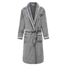 Flanela homens pijamas camisola de inverno coral velo sleepwear roupa de casa grosso roupão cinto bolso camisola