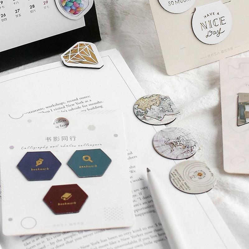 3PCS/LOT Creative Lovely Life Theme Magnetic Material Bookmark Cloud Diamond Coffee Morandi
