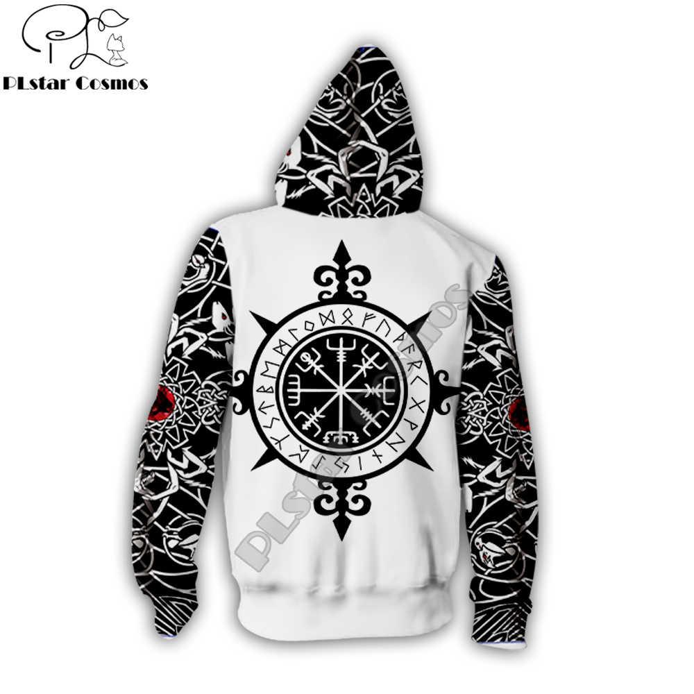 Plstar Cosmos 2019 Baru Desain Fashion Zip Hoodie Viking Tato 3D Unisex Cetak Hoodie Streetwear Mantel Kasual DROP Kapal