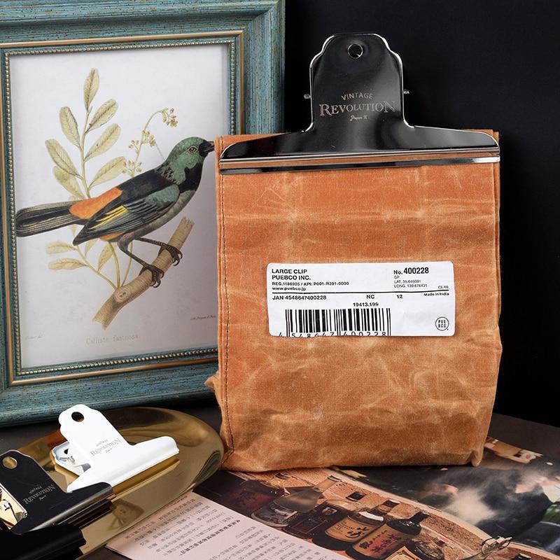 1pcs Vintage Binder Clip Letter Memo Folder Planner Metal Note Lovable School Clips Creative Bill Printed Bag Food Stationery