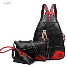 Mochila de mujer, mochila a la moda Vintage con diseño de hoja, 3 conjuntos, mochila multifunción de pecho para mujer, mochilas de piel para mujer