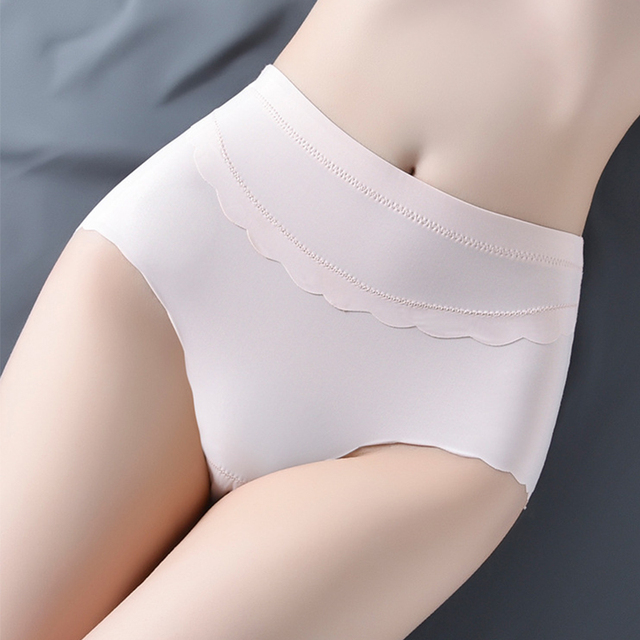 Ice silk high waist underwear female thin section wave side sexy panties breathable seamless women's briefs 1