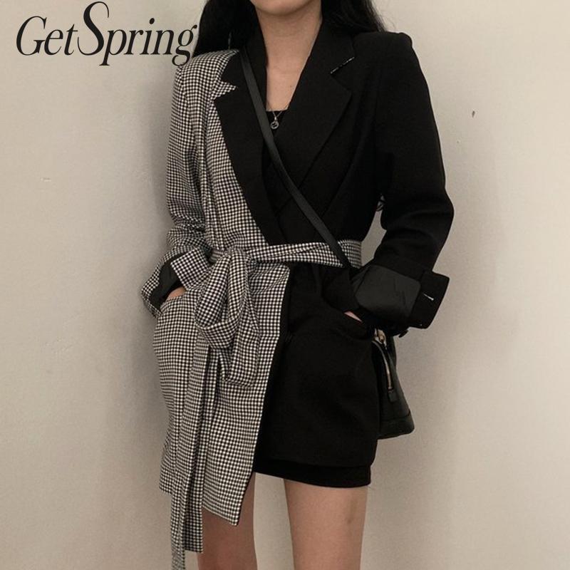 GetSpring Women Blazer Plaid Stitching Irregular Ladies Black Blazer Coat Long Sleeve Lace Up Asymmetry Women's Slim Suit Jacket