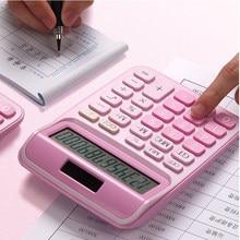 Mini calculadora altavoz computadora linda chica Rosa estudiante portátil estudiante de suministros de oficina sola