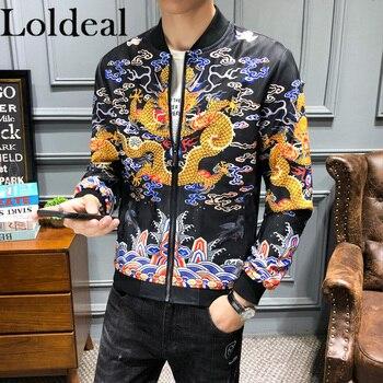 Loldeal Men Coat Luxury Portrait Print Bomber Jacket Slim Long Sleeve Dragon robe collar jacket men's thin section