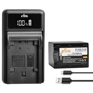 4200mAh NP FV100 NP-FV100 FV100 Battery + LED Charger for Sony NP-FV30 NP-FV50 NP-FV70 SX83E SX63E FDR-AX100E AX100E