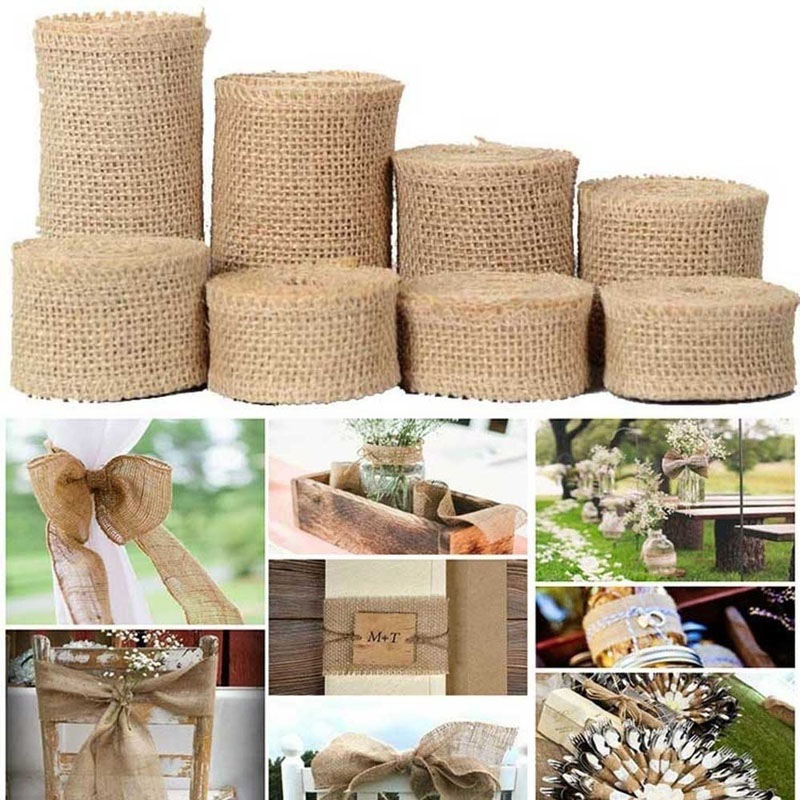2Yard/roll Natural Jute Burlap Ribbon for Crafts DIY Hemp Ribbon Lace Material Wedding Party Decorative Christmas Gift Wrapping(China)