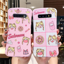 Anime Sailor Moon arc koffer gepäck telefon fall für Samsung Galaxy S8 S9 S10 S10PLUS Note8 Note9 rosa Anti klopfen abdeckung(China)