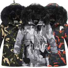 Winter Childrens Down Jackets Camouflage style Boy Coats Fur Teenager Kids parka Outerwear Overalls For Boys