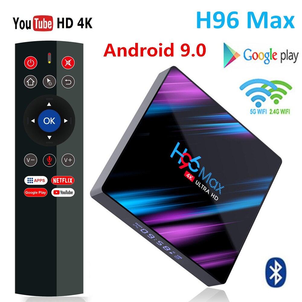 H96 MAX 9.0 Android TV Box Rockchip RK3318 4G Ram 32GB 64GB Rom H.265 4K Smart TV Box 2.4G&5G Wifi BT4.0 2G 16G Set Top Box