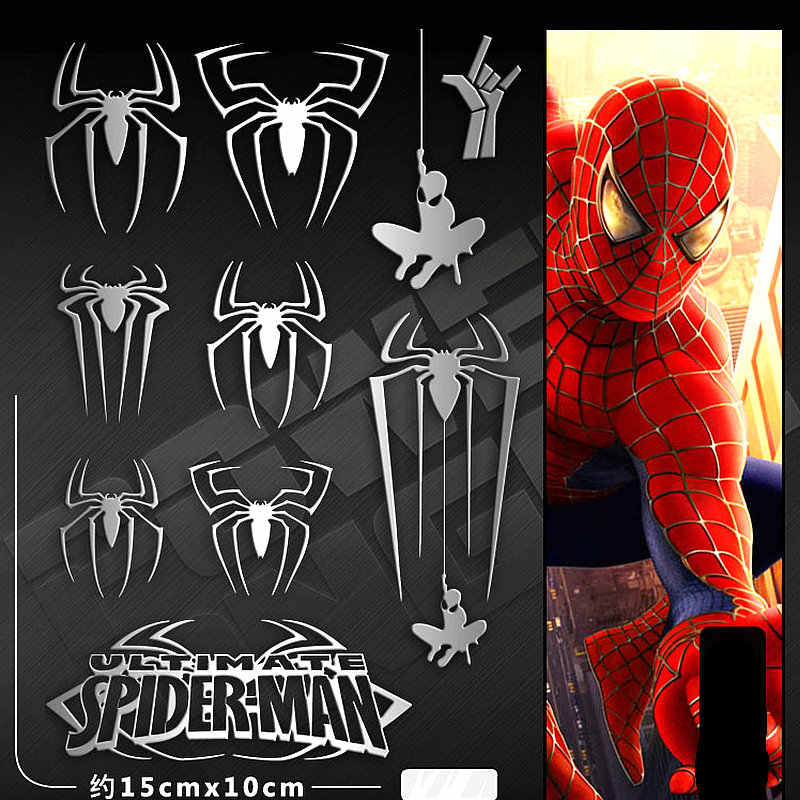 11 unids/set Silver Spider-Man Spiderman DIY pegatina 3D Metal pegatina para teléfono móvil Laptop iPad calcomanías de juguete Stikers