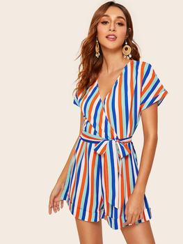 lace floral sexy playsuit women body romper overalls lady jumpsuit summer v neck short sleeve bodycon party outfits clothes 2020 Summer Sexy Jumpsuit Women Colorful Striped Romper Jumpsuit Deep V Neck Elegant Party Playsuit Loose Office Ladies Overalls